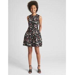 Gap '18 Fit & Flare Dress 10 Black Floral v138